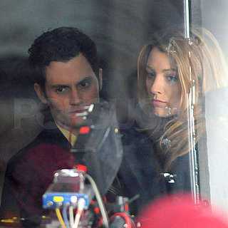 Penn Badgley and Blake Lively Film Gossip Girl