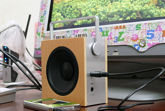 Compact Wood Radio and Speaker