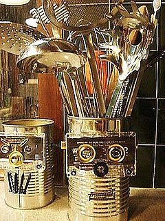 Danny Seo Recycles Old Cassette Tapes into Robot Utensil Holders