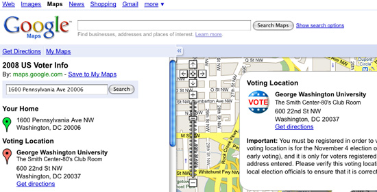 2008 US Voter Info on Google Maps