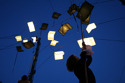 "Language of the Birds Art Installation in San Francisco's North Beach Features ""Flying"" LED-Lit Books"