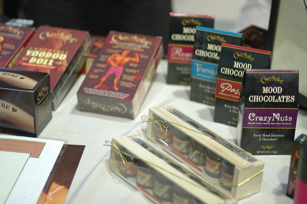 Chocoholics — known for its risque line of chocolate products — was on hand with painting kits, mood chocolates, and voodoo dolls.