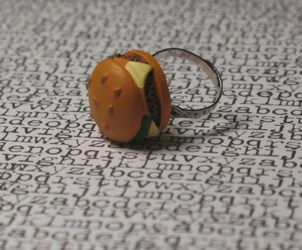When you shake hands with folks, they'll know you're crazy for burgers with this burger time ring ($6.50).