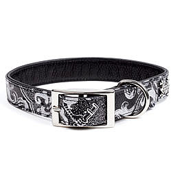  Black Leather Collar with Silver Crest