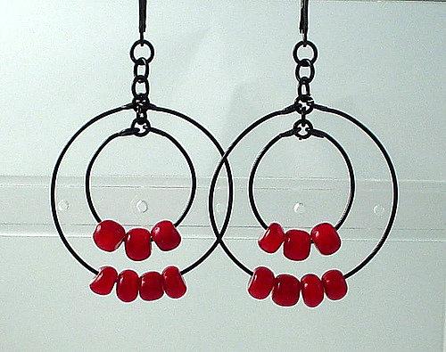 Black & Red Loop Earrings