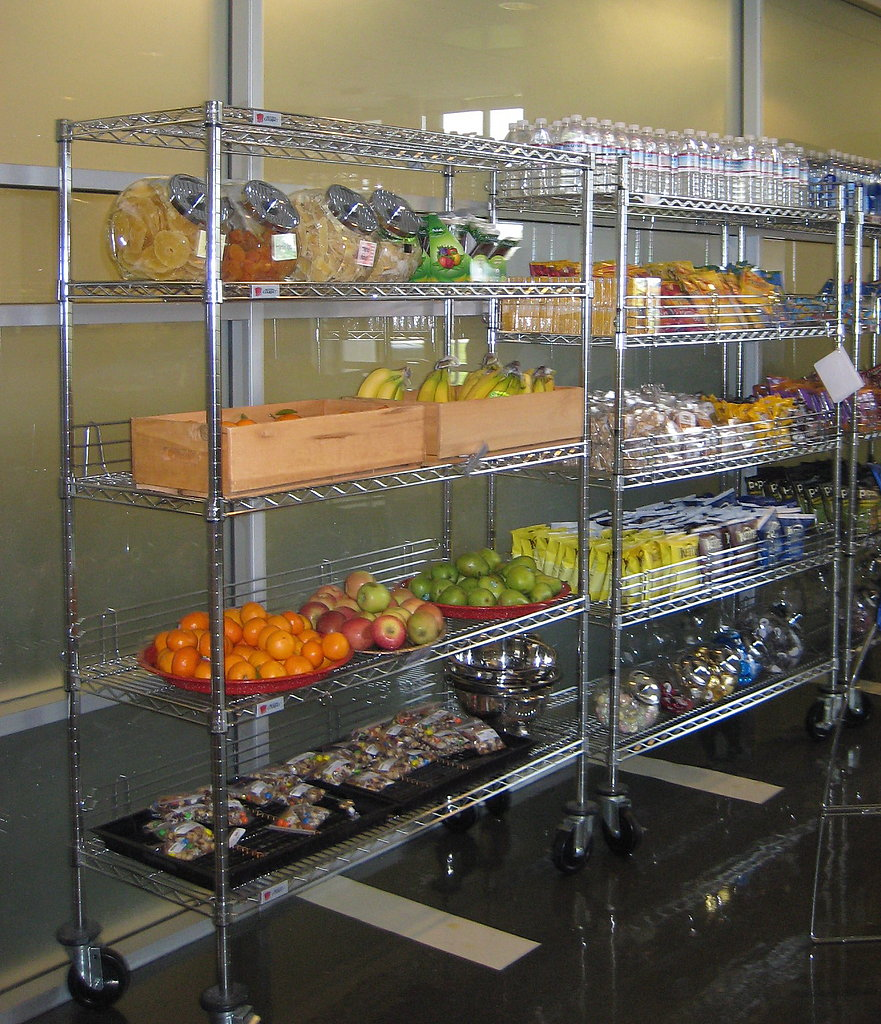 What if you are hungry when the cafeterias are closed? Don't worry, each building has a pantry stocked with fruit, chips, chocolate, water, sodas, and more.