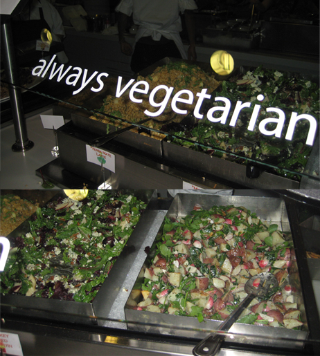 "They may be overlooked in other offices, but at Google, vegetarians are never forgotten. The No Name Café features tons of fresh ""always vegetarian"" food."