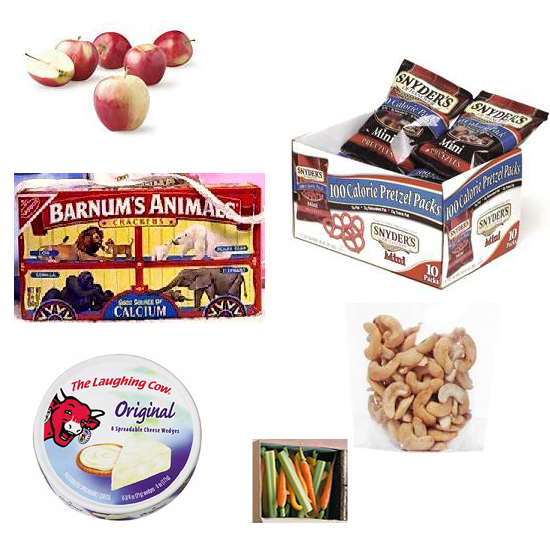 Fill the box with a variety of store bought foods. Fresh and dried fruit, pretzels, mini cheeses, carrot and celery sticks, animal crackers, and nuts make great snack food. Source