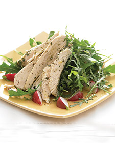 Fast & Easy Dinner: Chicken with Lemon Over Arugula