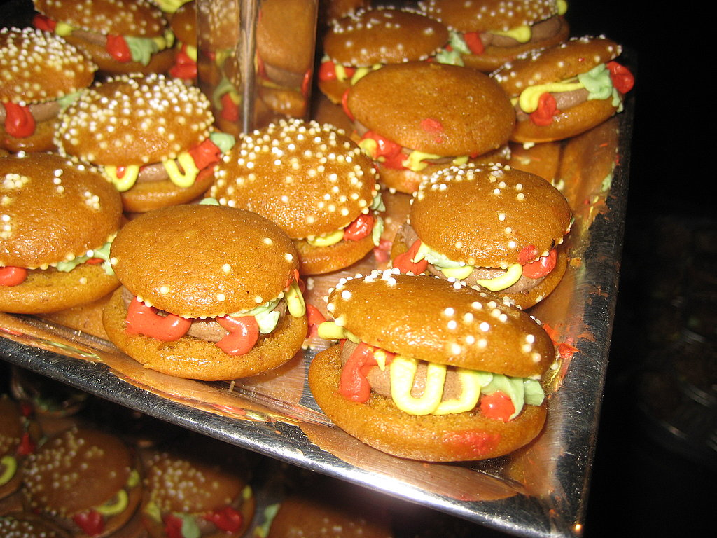 For dessert, guests were invited to mini pumpkin-flavored cookies that were decorated to look like burgers.