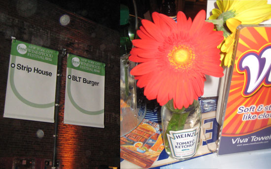 The decor was friendly and minimal. Large signs displayed the participating restaurants' names and Gerbera daisies filled empty ketchup bottles.