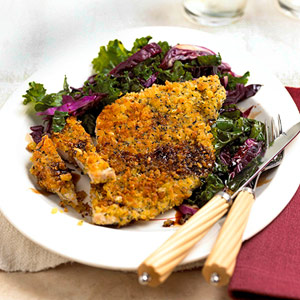 Fast & Easy Dinner: Breaded Pork With Cabbage and Kale