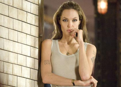 Angelina gives a phone interview for Wanted earlier today! 