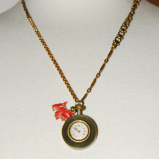 Lulu Frost Brass Victorian Clock Charm Necklace
