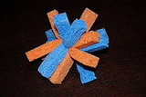 Blue and orange sponge