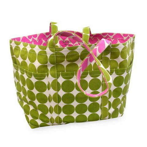 Green Polka Dot and Pink Heart Tote ($97)