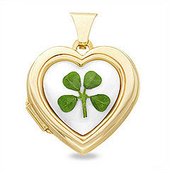 10K Gold Genuine 4-Leaf Irish Clover &amp; Mother of Pearl Heart Locket