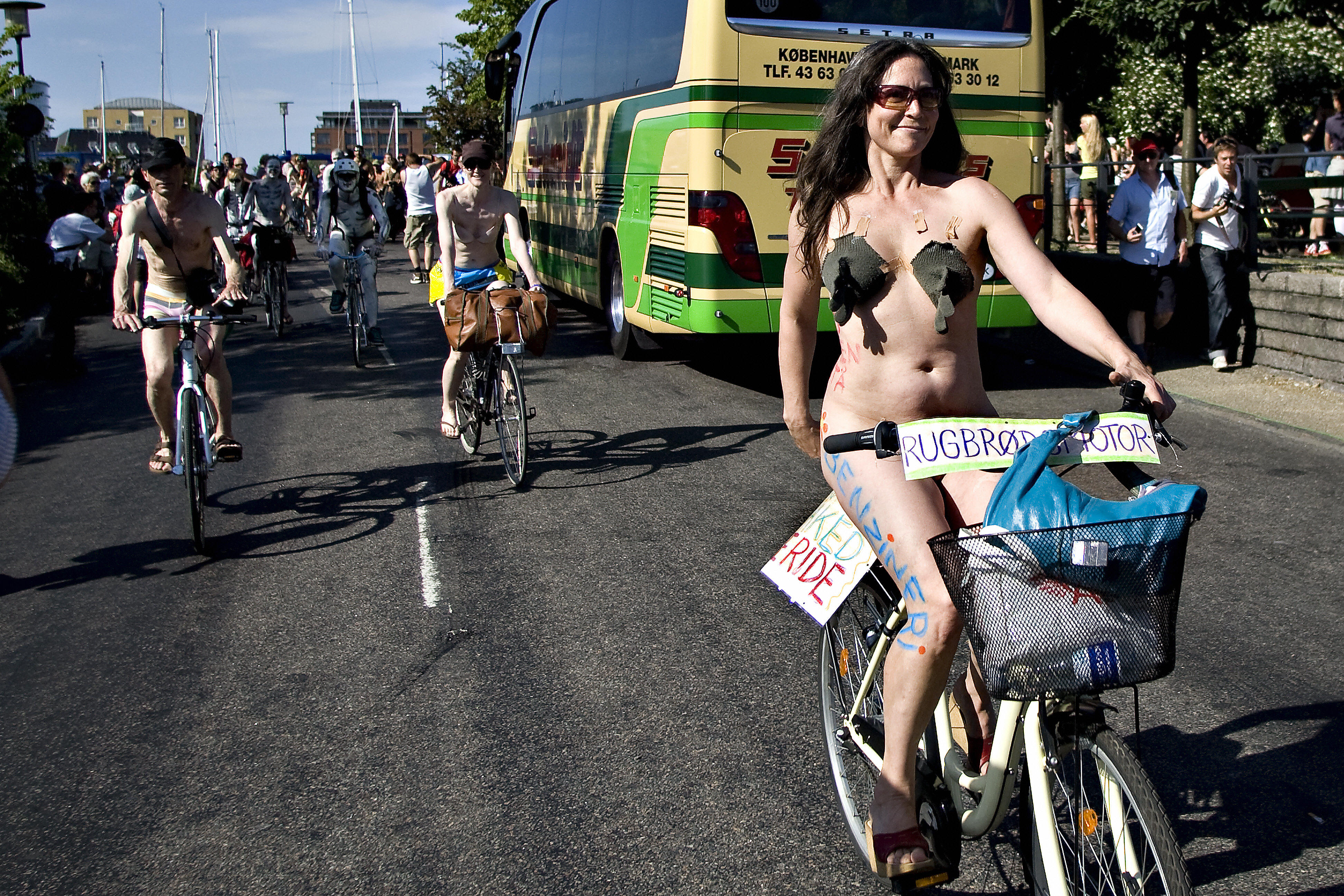 World Naked Biking Day in Copenhagen, Denmark.