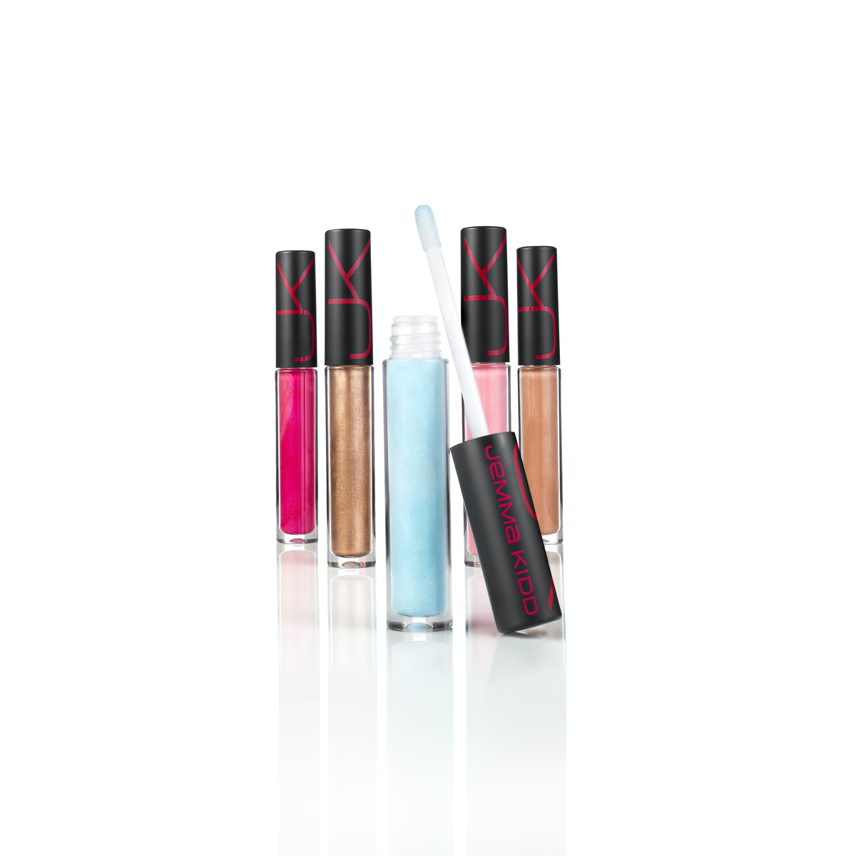 JK Jemma Kidd Maxi Kiss Plumping Lip Gloss (clear blue $17) and Air Kiss Shine Lipgloss ($16).