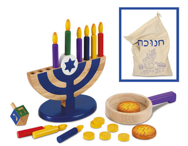 Wooden Hanukkah Set