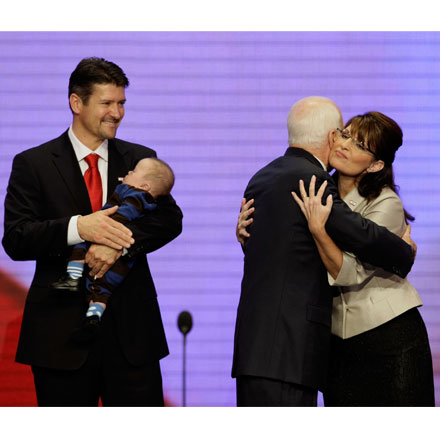 McCain Hugs Palin as Her Hubby Watches