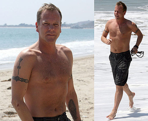 Photos Of Shirtless Kiefer Sutherland Running On Malibu Beach