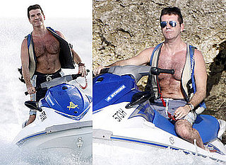 Photos of Shirtless Simon Cowell on Jet Ski on Holiday in Caribbean