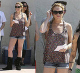 Lindsay Lohan Shows off her Legs in Short Shorts