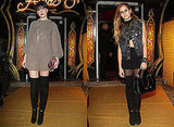 Daisy Lowe and Alice Dellal in Fendi Over The Knee Boots, Fendi Party, Paris Fashion Week