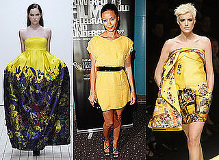 Catwalk Trend, Autumn 2008, Yellow, Versace, Erdem, Thandie Newton, Agyness Deyn