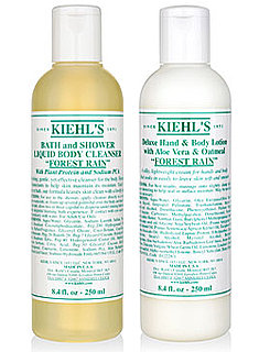 Kiehl's Forest Rain New Eau de Toilette, Body Wash and Hand and Body Lotion.