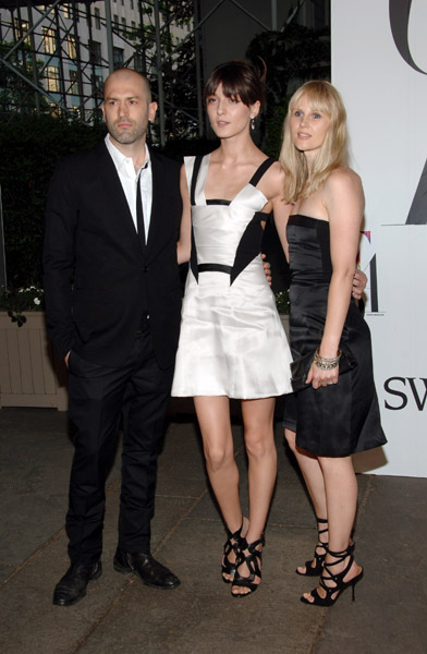Michael and Nicole Colovos of Helmut Lang, with Irina Lazareanu in their design.