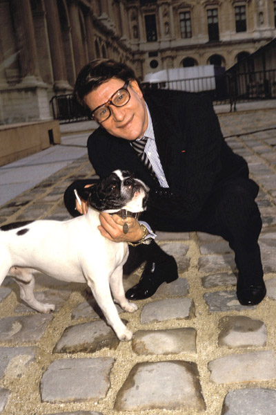 2000: Yves Saint Laurent with his French bulldog in Paris.