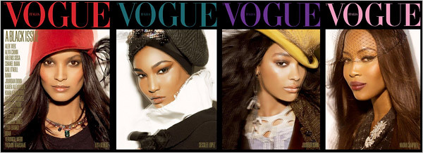 Liya Kebede, Sessilee Lopez, Jourdan Dunn, and Naomi Campbell