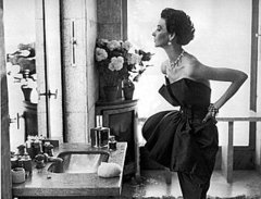 Dorian Leigh, dress by Piguet, photograph by Richard Avedon, Helena Rubenstein's apartment,