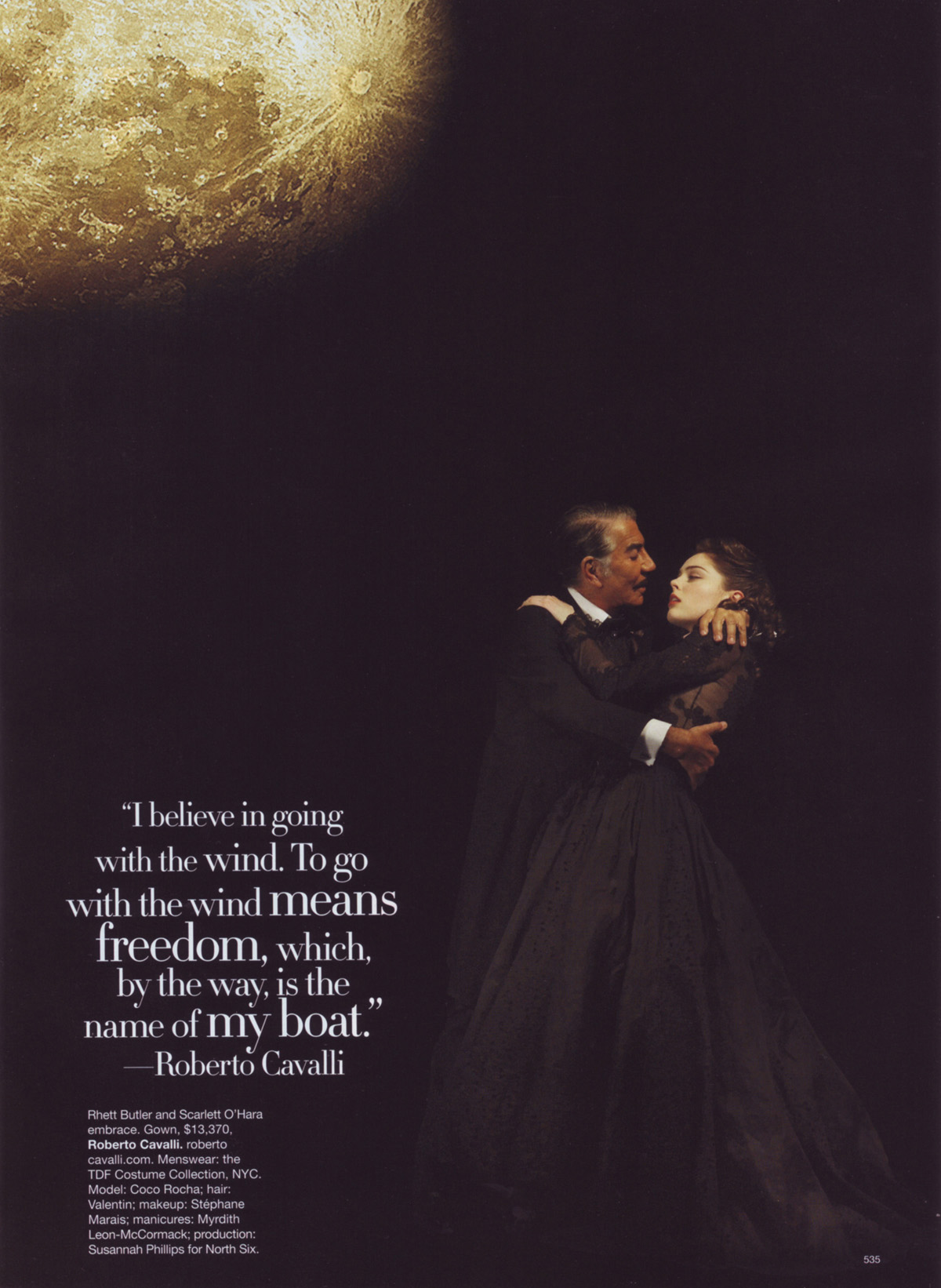 Roberto Cavalli as Rhett Butler and Coco Rocha as Scarlett O'Hara from <i>Gone with the Wind</i>.