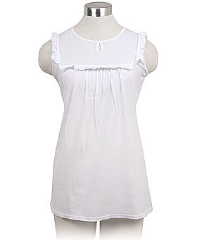 Charm School White Sleeveless Top by LA Made 