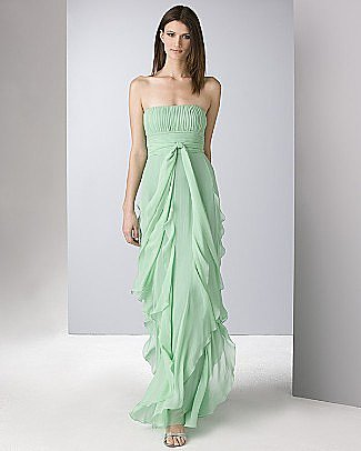 BCBGMAXAZRIA Women's Strapless Flat Silk Chiffon Gown with Ruffled Skirt - Women's - Bloomingdales.com