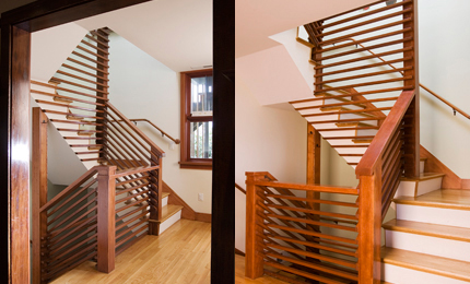 This central staircase connects the home's levels while filtering sunlight throughout the home.