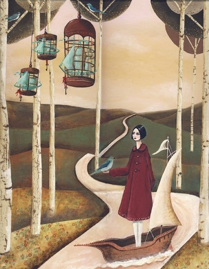 This surrealistic print, Ships in Bluebird Cages ($15.50) by Sarah Blank, is inspiring me to sail away.