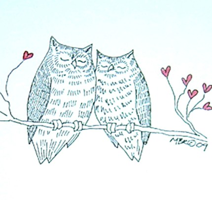 Printed from an original ink and watercolor drawing, Owls in Love ($3) strikes a whimsical chord.