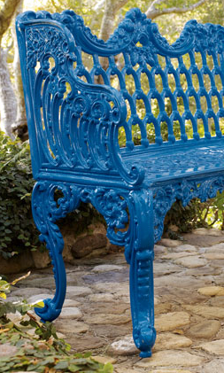 Dress up your garden with this stunning Blue Garden Bench ($1299).