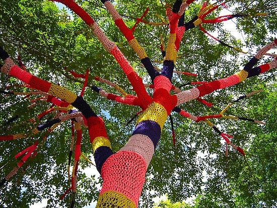 Artist Carol Hummel crocheted a cozy with brightly colored nylon and synthetic material for a tree in front of Cleveland Heights City Hall and spawned a movement of rogue knitters joining together to crochet their local trees, in nearby and distant cities. Source
