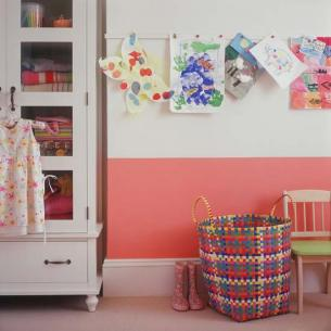 """Children grow out of the latest fads as quickly as their first pair of shoes, so rather than succumbing to an entire room of Dora the Explorer, choose a neutral backdrop and introduce color with textiles, graphic wall stickers (which are quick and easy to change) and fun accessories."""