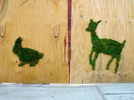 Eco-minded street artist Edina Tokodi makes site-specific moss installations that sometimes appear in the shape of animals, and other times in fuzzy outcrops of green on streetlights and other urban objects. Source