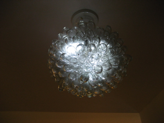 Examples of re-use were everywhere in this home. I especially loved this pendant light.