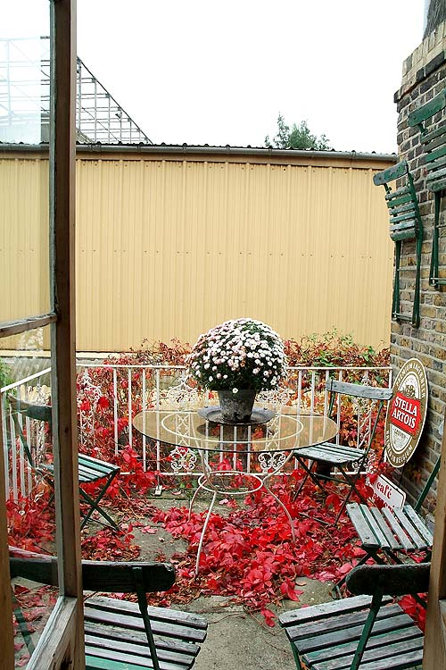 Fallen brick-colored leaves decorate this balcony.