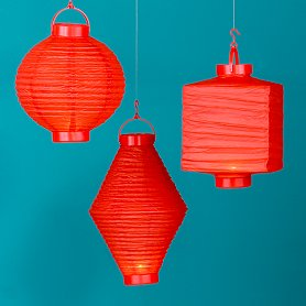 The World Market Red Battery-Operated Lanterns ($14.99) can bring the same eclectic style to your home at an affordable price.
