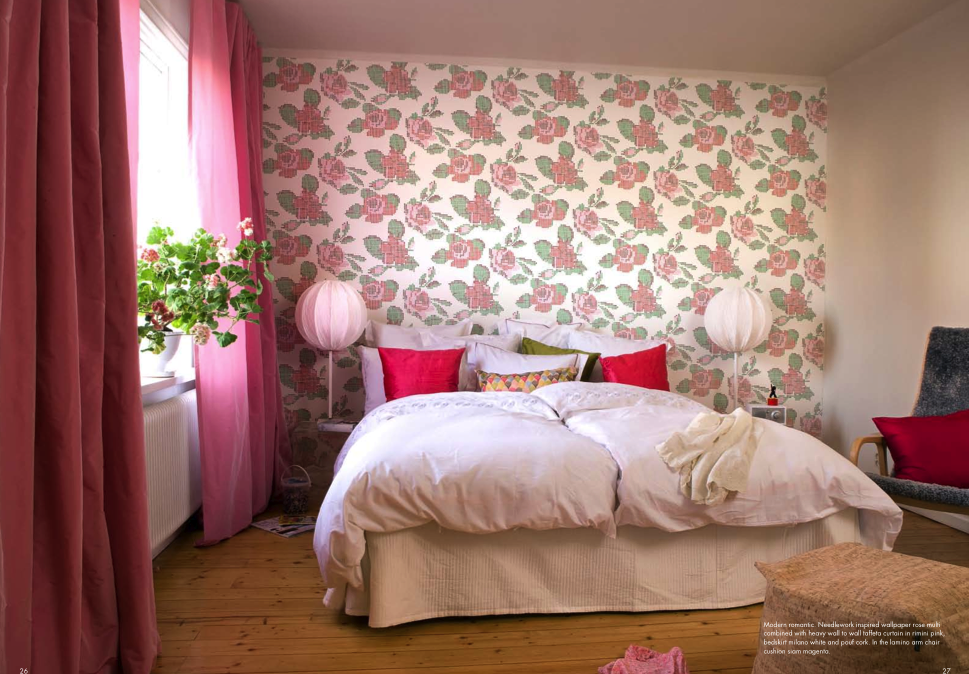 Wallpapering just one wall behind your bed creates an instant focal point and headboard alternative.