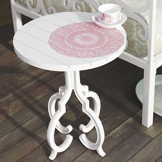 The Medallion Side Table ($199) was in Brocade Home's outdoor collection this Spring, but is now out of stock. Also, be sure to check out my ShopStyle widget for more doily motif items!